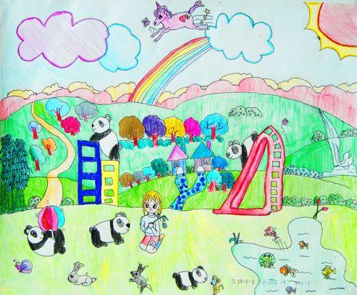 在一个童话般美丽的村庄里, 彩虹挂在天边, 飞马在蓝天上翱翔, 活泼