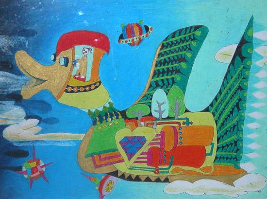 创意儿童画:绿色环保鸟 - 绿色创意 - 加拿大国际儿童